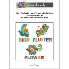 Bird, Butterfly and Flower with Letters - Set - Applique Add-On Pattern