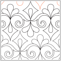 Diamond Scroll and Feathers #1 - Pantograph