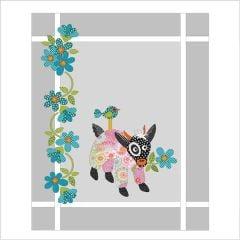 Mama Goat in PJ's - Pink - Applique Quilt Set