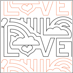 Love Allover - Border - Pantograph